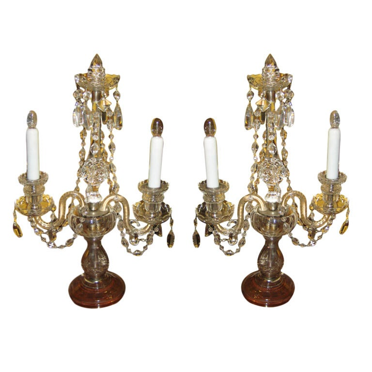 Pair Of Crystal Candelabra Buffet Lamps At 1stdibs