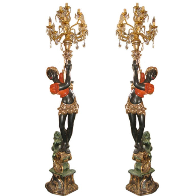 Pair Of Italian Blackamoor Torchere Lamps At 1stdibs