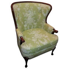 Wingback Chair Upholstered in Lime Green Toile