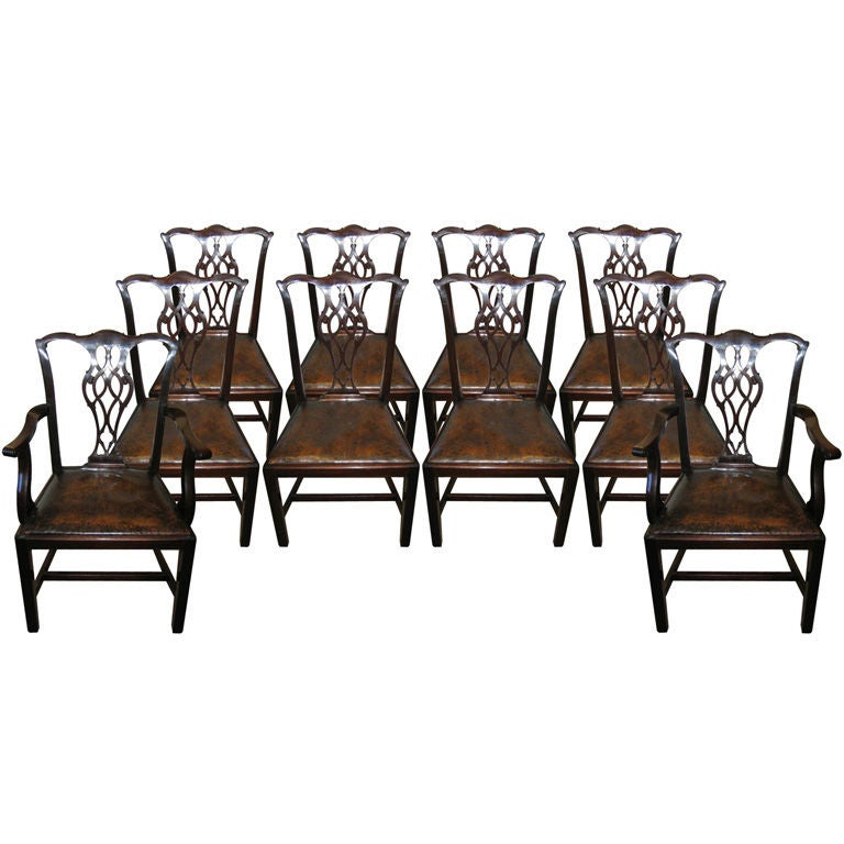 set of 10 mahogany chippendale style dining room