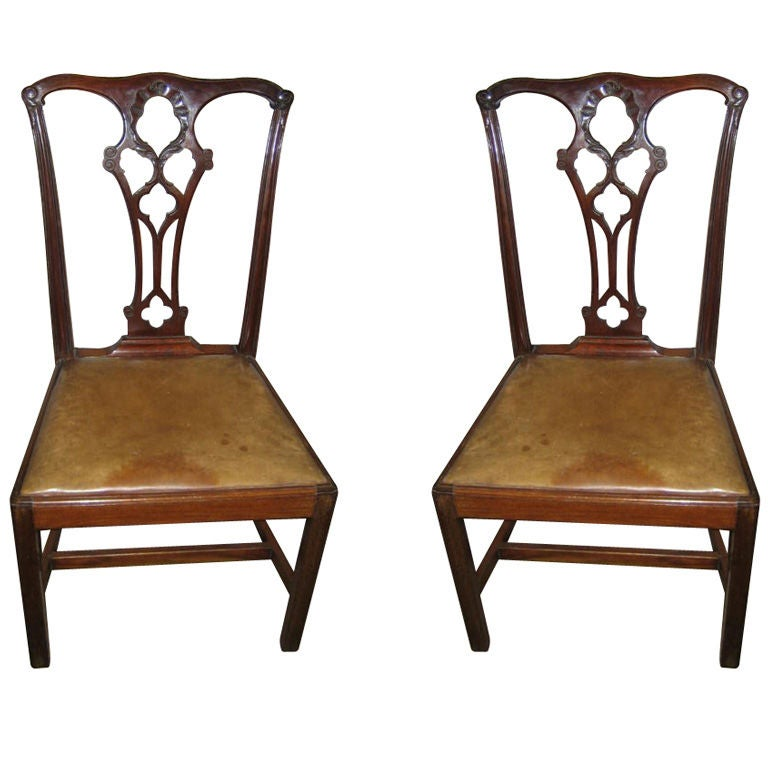 Chippendale Dining Room Chairs: Pair Of English Mahogany Chippendale Style Dining Room