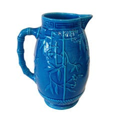 French Majolica Art Nouveau Turquoise Pitcher