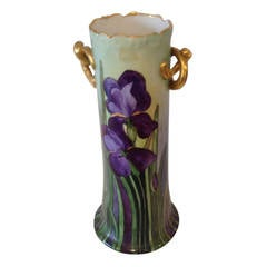 Royal Vienna Hand-Decorated and Gilded Vase with Iris
