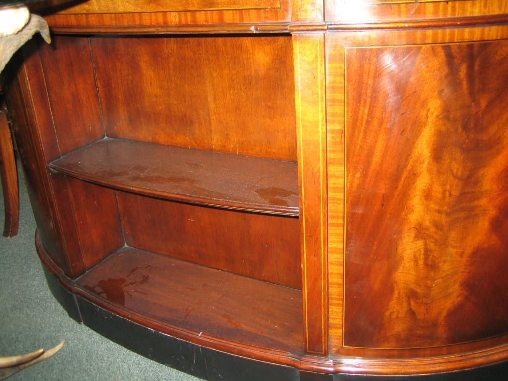 English Mahogany Leather Top Kidney Shaped Desk With Bookcase At 1stdibs