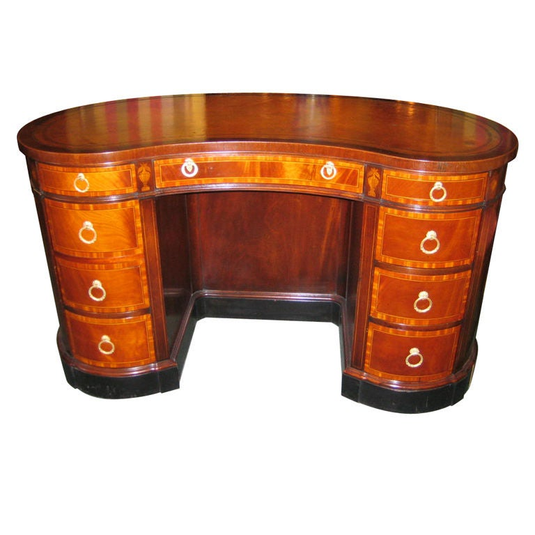 English Mahogany Leather Top Kidney Shaped Desk With