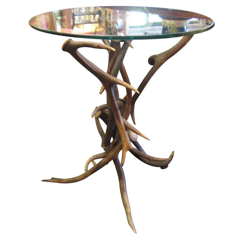 Elk Antler Occasional Table With Circular Glass Top At 1stdibs