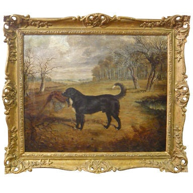 English Oil on Canvas of a Hunting Dog with Prey by Gilbert *SATURDAY SALE*