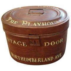English Custom Painted Tin Hat Box
