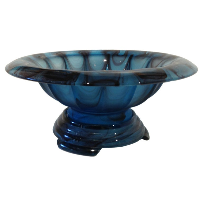 deco gateshead glass bowl on stand at 1stdibs