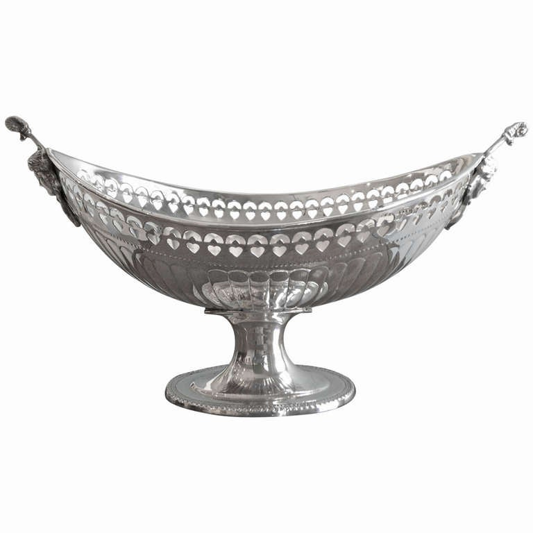 English Silver Plated Oval Fruit Bowl At 1stdibs