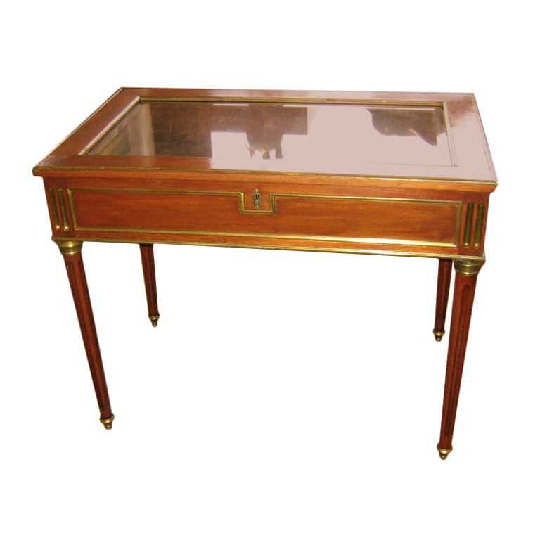 French napoleon 111 mahogany and brass table vitrine at for Table vitrine