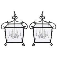 Pair of Very Large Regency Style Hanging Lanterns