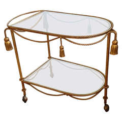 Gilt  Metal and Glass Two Tier  Tea or Drinks Trolley
