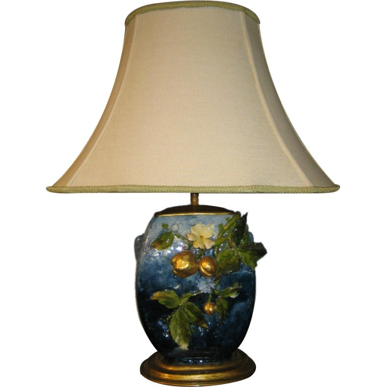 French Antique Barbotine Lamp At 1stdibs