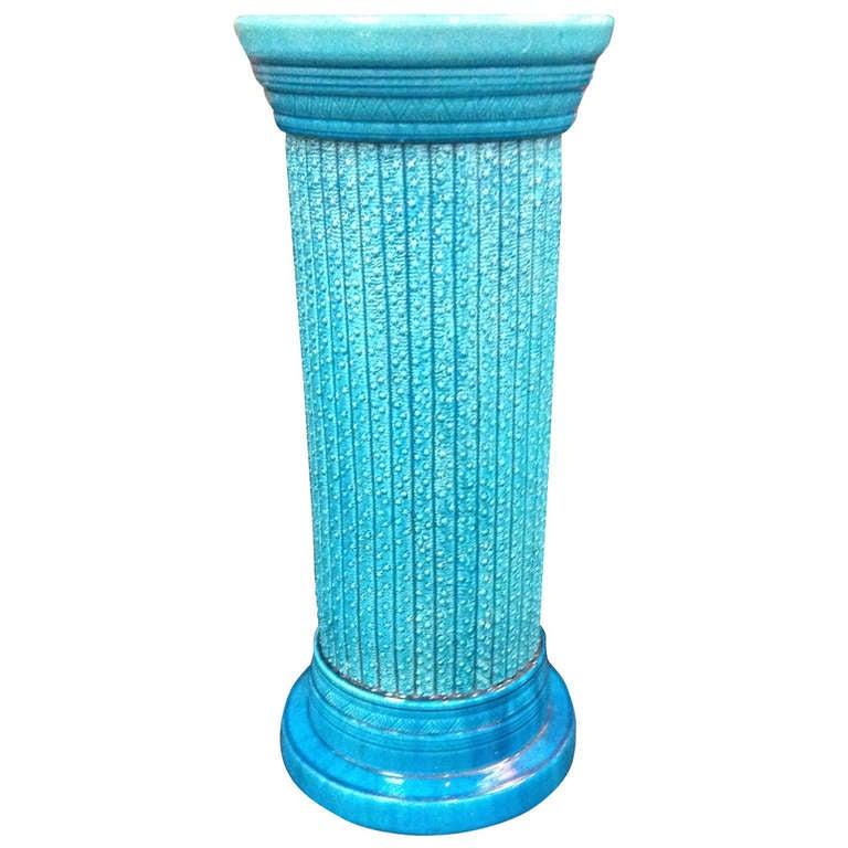 English faience burmanstoft art pottery turquoise pedestal for Faience turquoise