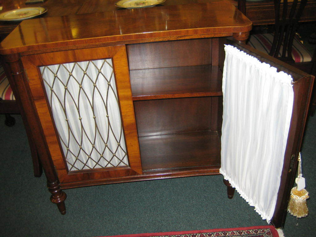2 door small mahogany cabinet with brass grille front at 1stdibs