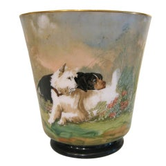 Handpainted Glass Jardiniere With Dogs