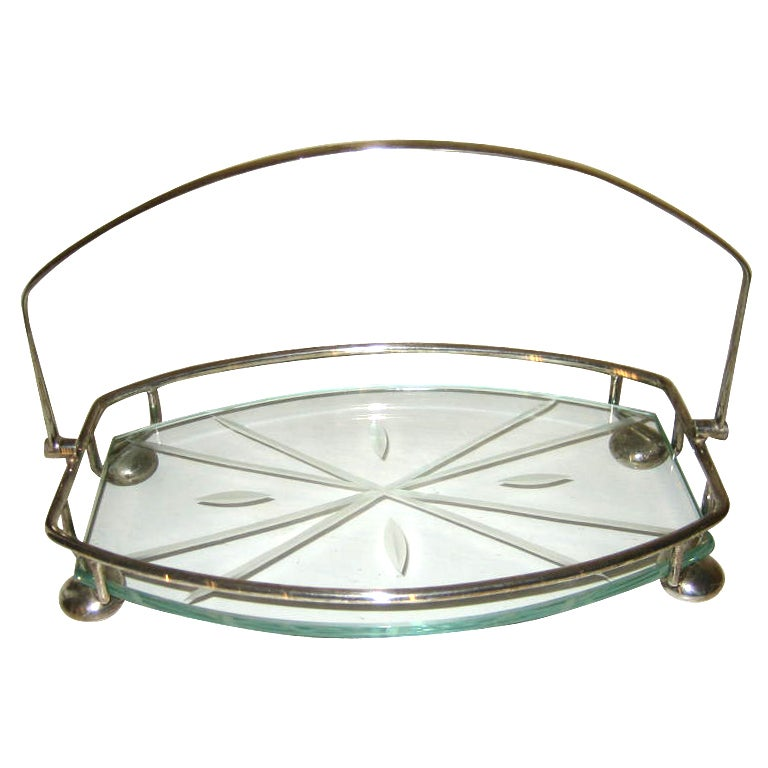 Art Deco English Silver Plate And Glass Cake Tray/Stand at ...