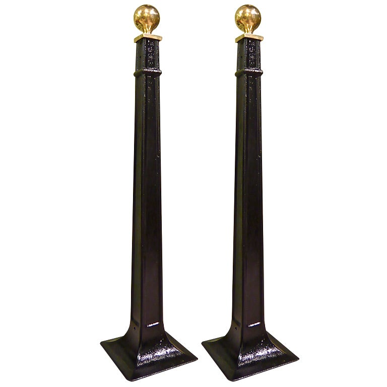 Pair Of Cast Iron And Brass Stanchions At 1stdibs