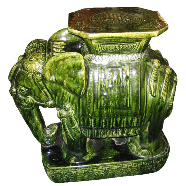 Asian Green Elephant Ceramic Garden Seat Side Table At 1stdibs