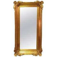 Italian Large Gilt Framed Two-Section Pier Mirror