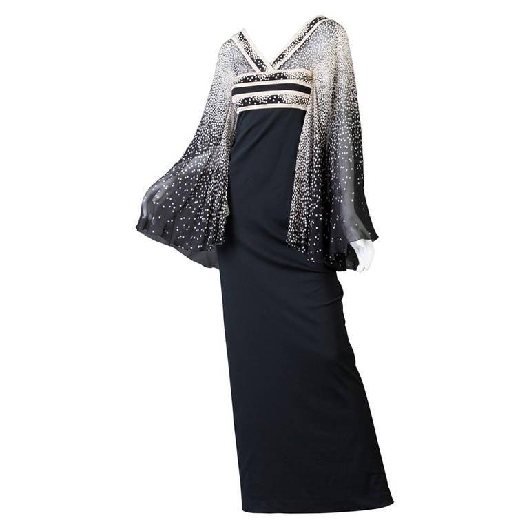 1970s Leonard Paris Silk Chiffon Angel Sleeve Caftan Maxi Dress Documented