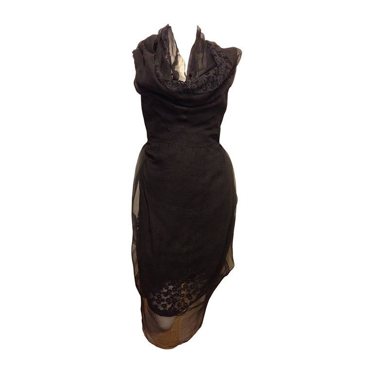 Marc Jacobs Black Lace and Chiffon Layered Dress 1