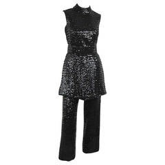 1960s Black Mod Victor Costa Sequin - Tunic Mini Dress Pant suit Small