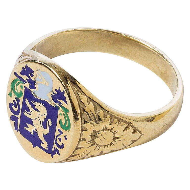 Heraldic Enameled Gold Ring For Sale