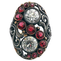 Art Deco Red Spinel Diamond Silver Gold Ring