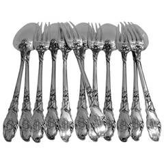 Ravinet Rare French Sterling Silver Dinner Flatware Set 12 pc Iris Pattern