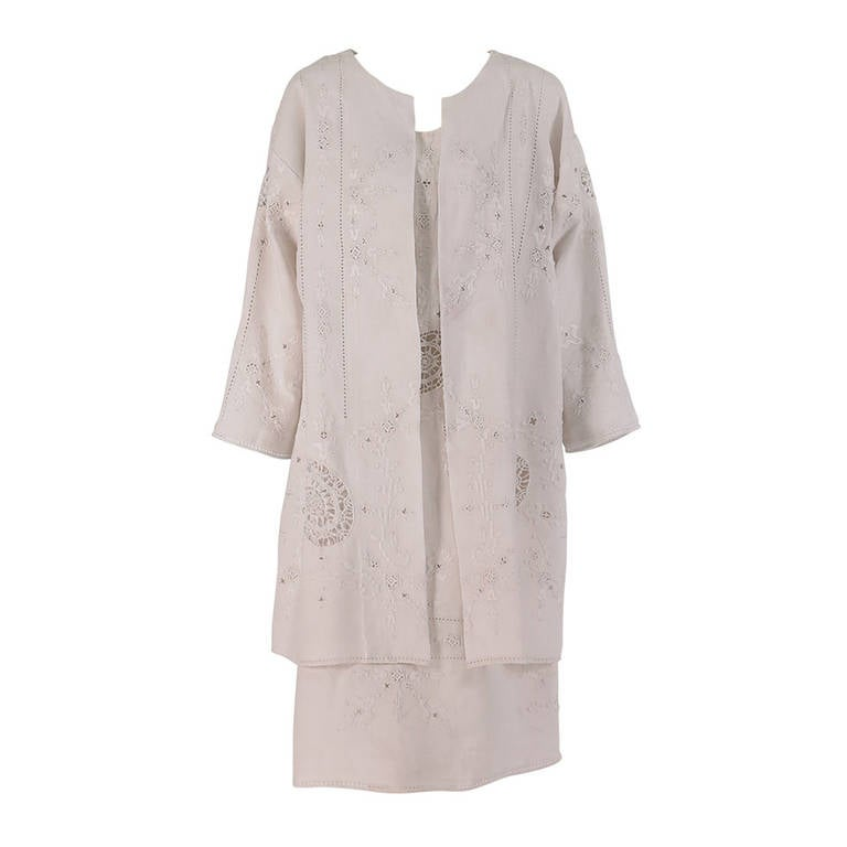 1960s Embroidered Linen & Retecella lace dress & coat