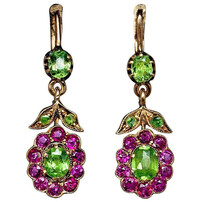 Antique Russian Demantoid Ruby Dangle Earrings 1