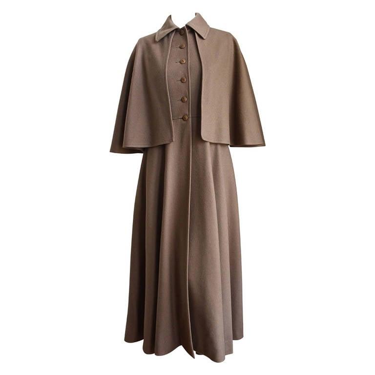 very rare YVES SAINT LAURENT wool cape coat - 1970 For Sale
