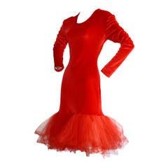 Incredible Vintage Patrick Kelly Avant Garde Sexy Red Velvet Dress
