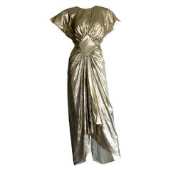 Vintage Bruce Oldfield Sexy Gold Lame Plunging Back Dress