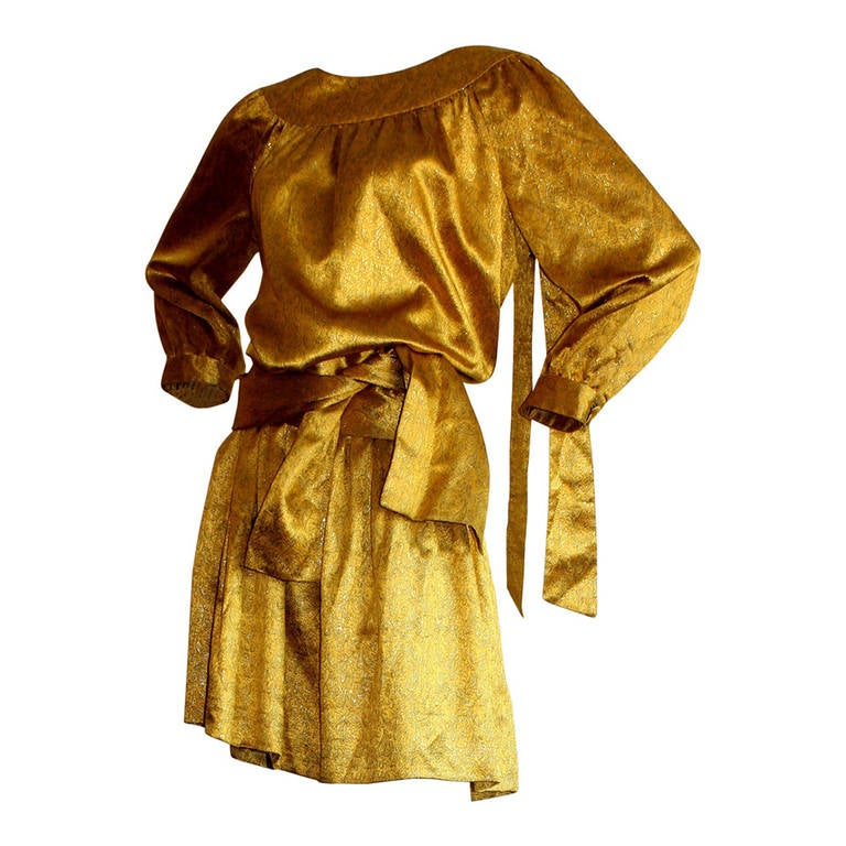 Gorgeous Vintage Brioni Regal Gold Oriental Dress Ensemble