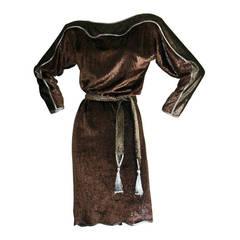 Vintage Geoffrey Beene Silk Velvet Leopard Dress W/ Tassel Belt