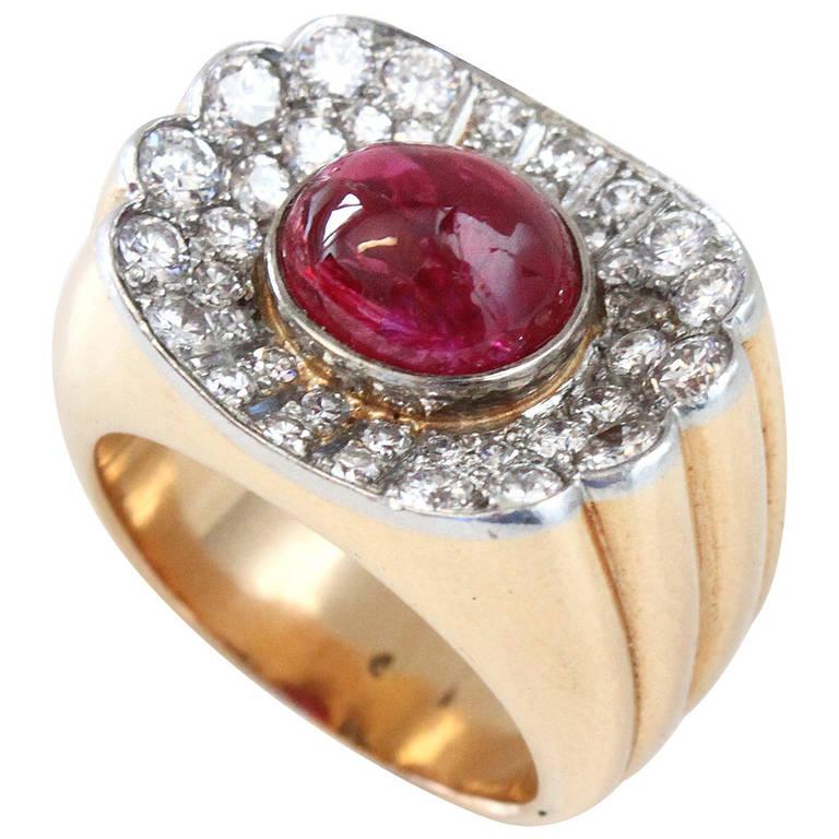 Big Ruby Diamond Gold Retro Ring For Sale
