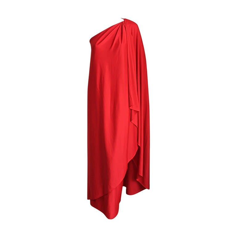 1970's Halston IV draped red jersey Grecian gown For Sale