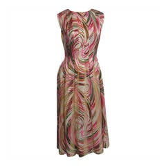 PAULINE TRIGERE Silk Chiffon Streamer Print Dress