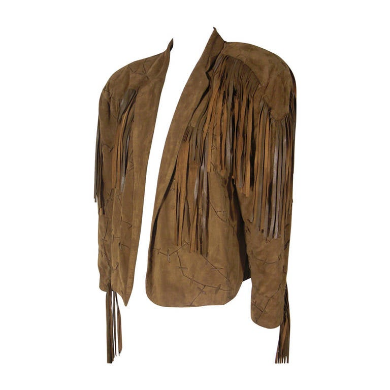 1980s Claude Montana Brown Suede Fringe Jacket