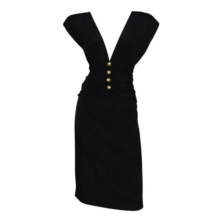 CAROLYN ROEHM Little Black Cocktail Dress For Sale