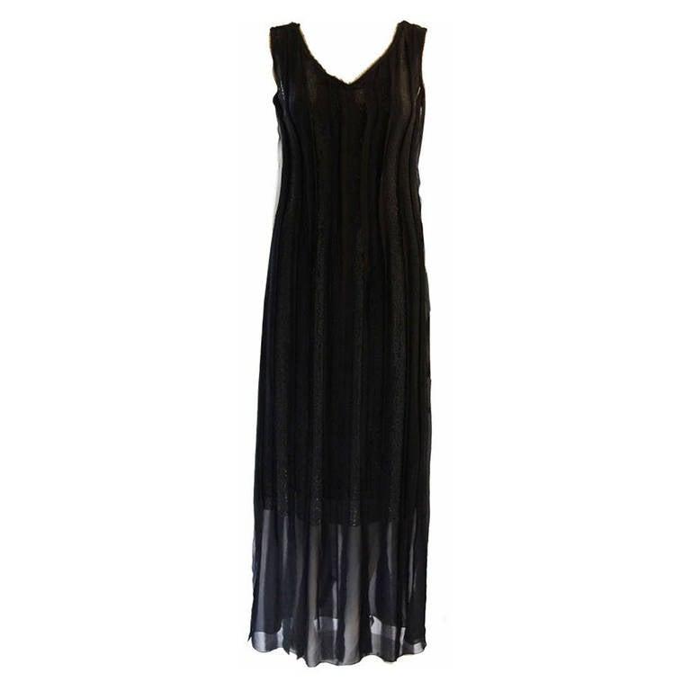 Alberta Ferretti Black Beaded Silk Chiffon Understated Dress with Raw Finish 10