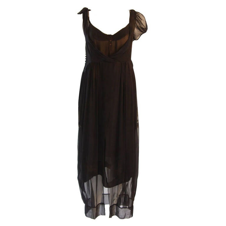 1fcd15a9e666ff Chic Zac Posen Steam Punk Inspired Layered Black   Nude Silk Dress Ensemble  For Sale