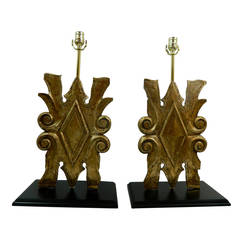19th Century Italian Pair of Gilt Wood Plaques or Fragments Adapted as Lamps