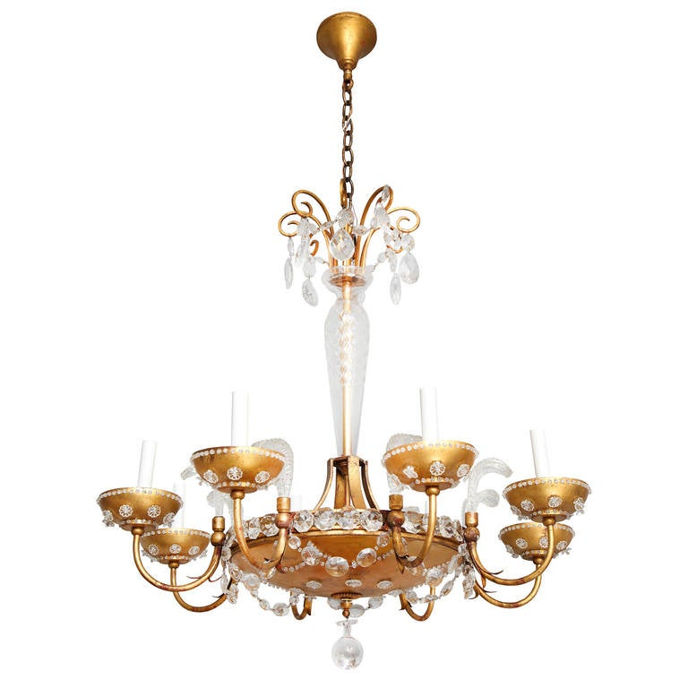 Eight-Light French Gilt Metal Dish Form Chandelier