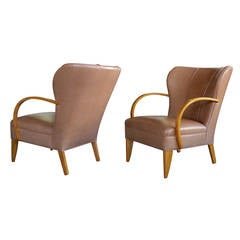 Large-Scaled Pair of Swedish 1940s Wingback Chairs with Bentwood Arms
