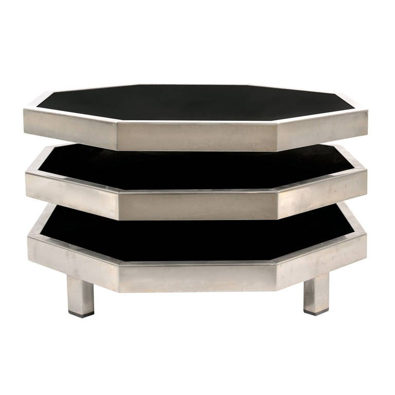 1970s Octagonal Swivel Side Table For Sale