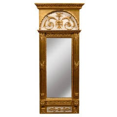 French Louis XVI Style Early 19th Century Narrow Giltwood Trumeau Mirror